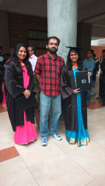 Priyanka and Evelyn with Dr. Rajesh Ramachandran on convocation day