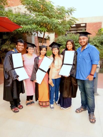 Riya, Roja and Vijith with their Mentors on their convocation